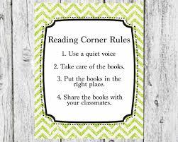 reading corner rules teacher decor classroom decor reading