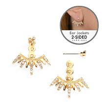 earring jacket spikey golden 2 sided earrings for brides bridesmaids and prom