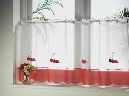 adorable white and red modern kitchen window curtain ideas with
