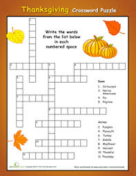 simple thanksgiving crossword puzzle worksheet education