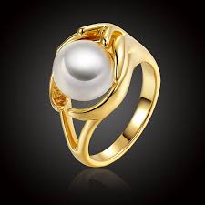 white girl rings images Fashion imitate pearl jewelry rings for women trendy simple design jpg