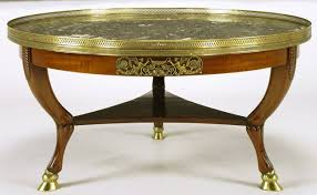 mahogany and marble 1940s empire coffee table with bronze hoof