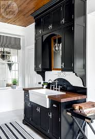 794 best cabinetry images on pinterest bathroom bathroom ideas black cabinetry with butcher block counter and farmhouse sink