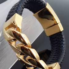 man black leather bracelet images Leather and gold bracelet for man the best of 2018 jpg