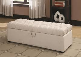 White Leather Storage Ottoman White Leather Storage Ottoman Bench With Tufted For Bedroom