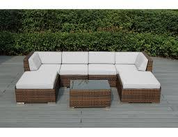 White Patio Furniture Set Sunbrella White With Mixed Brown Wicker Ohana Wicker
