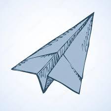 paper airplane vector drawing u2014 stock vector marinka 121793050