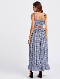 self tie shoulder smocked bodice tiered hem gingham dress shein