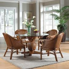 wicker dining table with glass top sunset reef indoor 5 pc rattan wicker dining set with four club