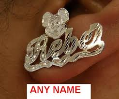 personalized earrings silver any stud name earring personalized mickey mouse sp5 nikfine