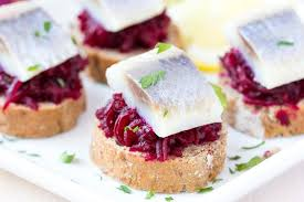 canapé toast canape herring with bees on rye toast tasty starter appertise