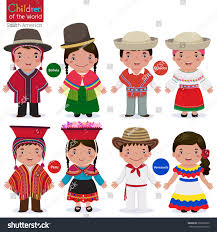 different traditional costumes bolivia ecuador stock vector