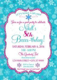 printable chalkboard winter indoor pool party birthday invitation