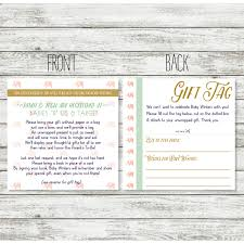 baby shower registry card wording for unwrapped gift for shower