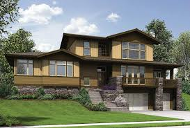 craftsman for uphill sloping lot 69520am architectural designs