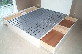 Diy Platform Bed Frame Plans by Building Platform Bed Frame With Drawers Bedroom Ideas