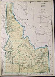 Idaho State Map by Prints Old U0026 Rare Idaho Page