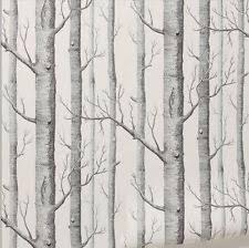 53cm x 10m rustic modern forest birch tree wallpaper roll black