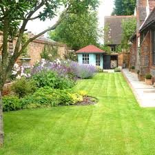 Small Walled Garden Ideas Ideas For Boundary Re Path And Lawn And The Regular Pots