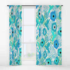Blue Window Curtains by Hummingbirds Window Curtains Society6