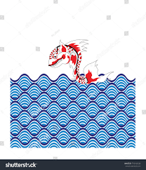thai tradition style fish red white stock vector 715142530 thai tradition style of fish in red and white color and waves in blue color