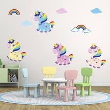 unicorn wall stickers wall art kids rainbow unicorn wall stickers