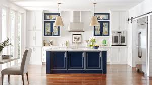 white kitchen with custom blue kitchen island omega