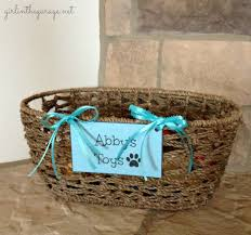 personalized basket basket for dog toys girl in the garage