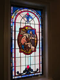 stained glass windows at browns summit baptist church in browns