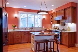 decoration traditional orange kitchen with small kitchen island