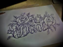 outline roses and dad memorial tattoo design