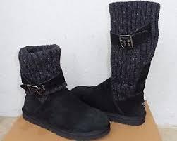 ugg cambridge s boot sale ugg cambridge black suede sheepskin knit cuff buckle boots