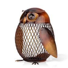 aliexpress com buy tooarts escultura owl shaped metal coin box