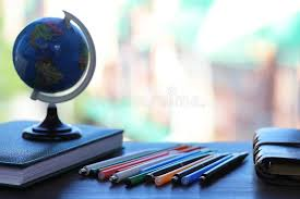 Small Desk Globe A Pen On The Desk And A Small Globe Stock Photo Image 108279320
