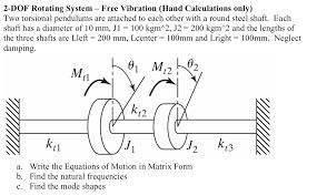 2 dof rotating system free vibration hand calcu chegg com