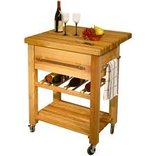 adorable brown wooden color small kitchen island with wine rack