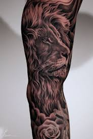 realistic grey 3d lion tattoo on sleeve photos pictures and