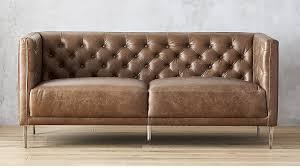 Saddle Brown Leather Sofa Savile Dark Saddle Leather Tufted Apartment Sofa Cb2