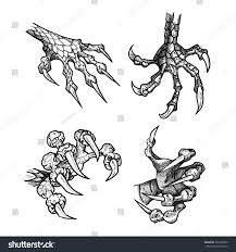 claws halloween dragon monster paw claws wild tattoo stock vector 385279690