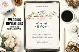 wedding invitations psd 8 wedding invitations pack invitation templates creative market