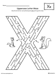 uppercase letter x maze worksheet myteachingstation com