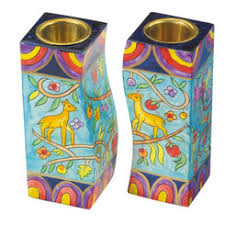 painted wooden shabbat candlesticks judaica more
