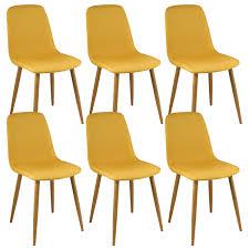 chaises jaunes davik lot de 6 chaises jaunes
