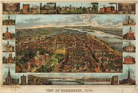 Map Of Pennsylvania Cities by Birdseye Map Of Harrisburg Pennsylvania 1855