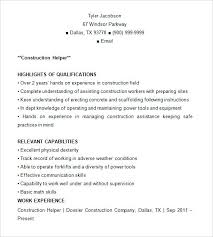 sample resume for a construction worker construction resume