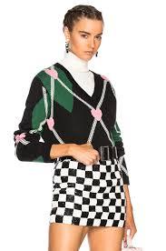 msgm argyle sweater in green black white u0026 pink fwrd