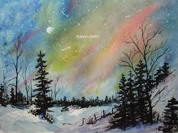 winter landscape archival print northern lights watercolor