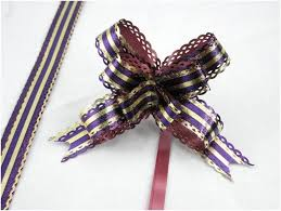 pack of 10 purple gold strip pull string ribbon bows ideas for