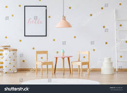 childs room wooden furniture simple childs room peach stock photo 755306281
