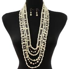 costume jewelry pearl necklace images Long layered ivory gold pearl necklace set elegant jewelry jpg
